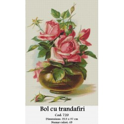 Bol cu trandafiri (kit goblen)